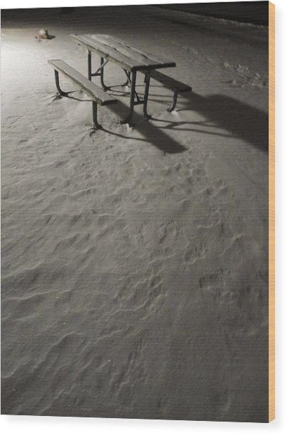 Picnic Table In The Untried Snow Wood Print by Guy Ricketts