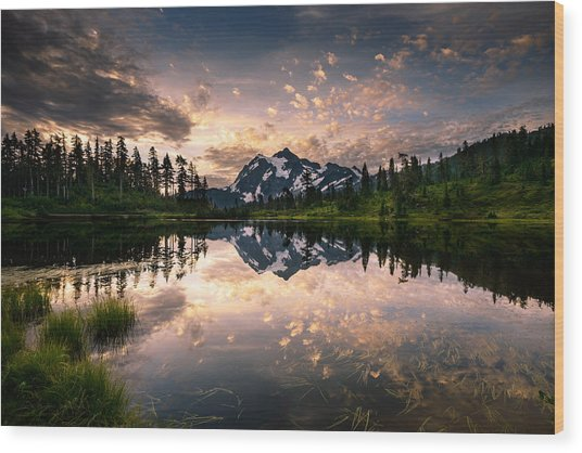 Picture Lake Awakening Wood Print