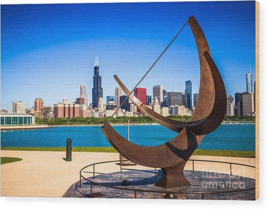 Picture Of Chicago Adler Planetarium Sundial Wood Print