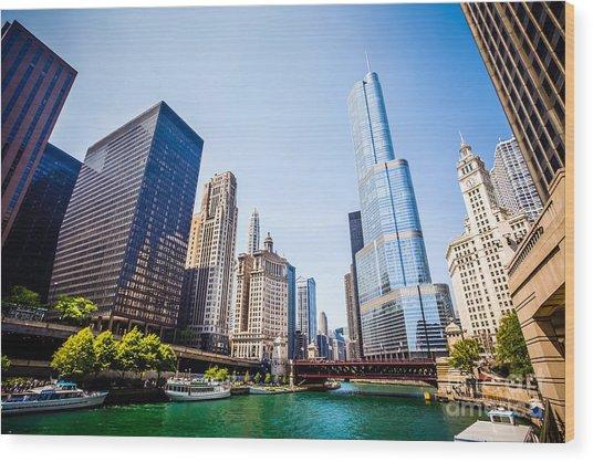 Picture Of Chicago Skyline At Michigan Avenue Bridge Wood Print