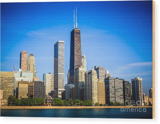 Picture Of Chicago Skyline With Hancock Building Wood Print