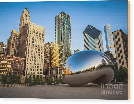 Picture Of Cloud Gate Bean And Chicago Skyline Wood Print
