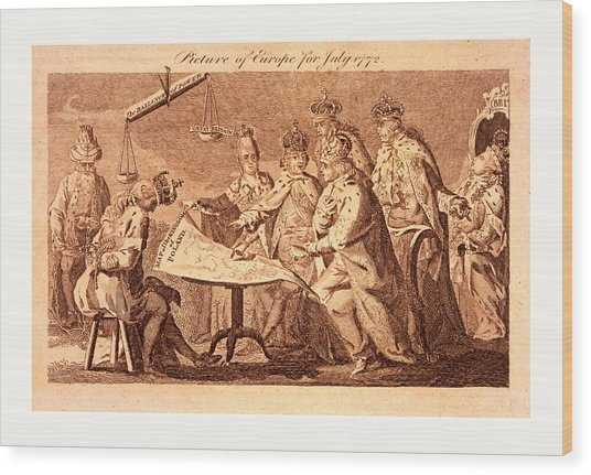 Picture Of Europe For July 1772, Catherine II Wood Print by Polish School