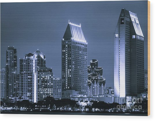Picture Of San Diego Night Skyline Wood Print