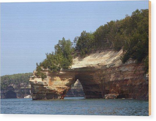 Pictured Rocks Bridge Wood Print by Kevin Snider