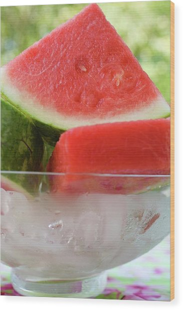 Pieces Of Watermelon In A Bowl Of Ice Cubes Wood Print