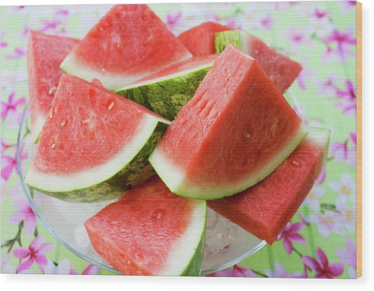 Pieces Of Watermelon On A Glass Platter Wood Print