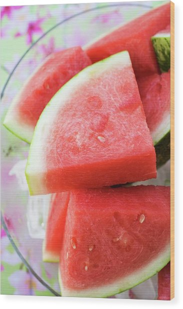 Pieces Of Watermelon On A Platter Wood Print