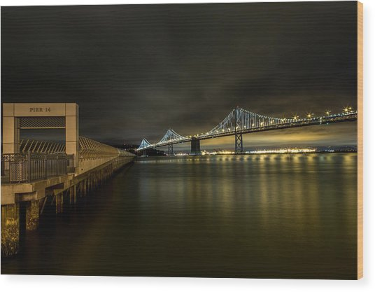 Pier 14 And Bay Bridge At Night Wood Print