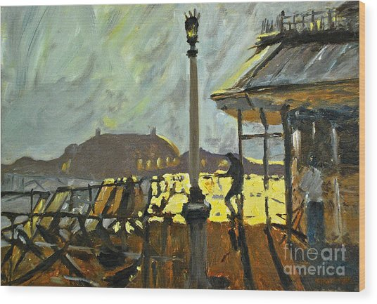 Pier At Brighton Wood Print