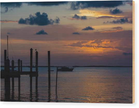Wood Print featuring the photograph Pier At Buttonwood Sound by Ed Gleichman