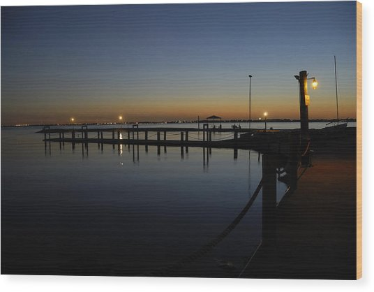 Pier At Chandlers Landing Rockwall Tx Wood Print