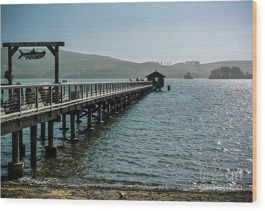 Pier At Nick's Cove Wood Print