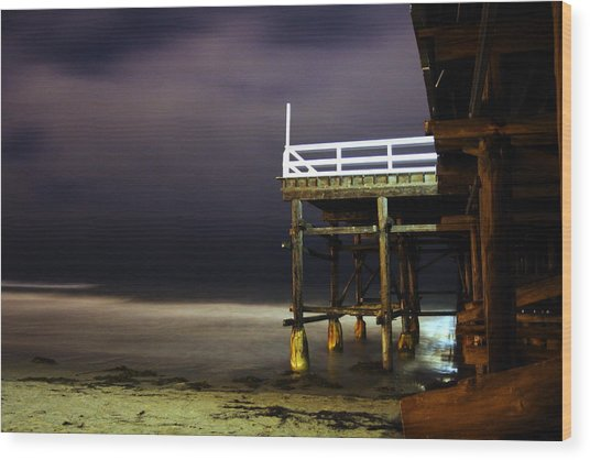 Pier At Night - 2 Wood Print by Carrie Warlaumont