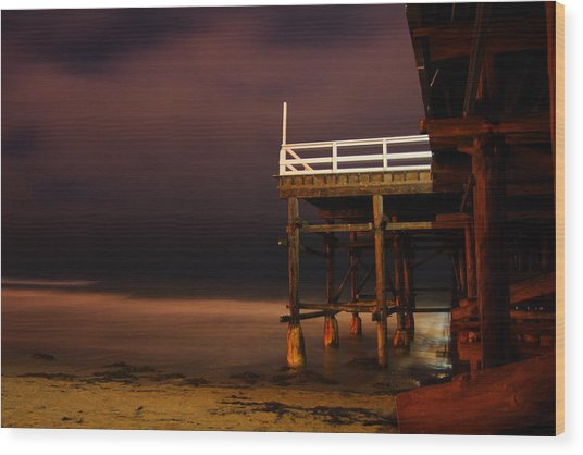 Pier At Night Wood Print by Carrie Warlaumont