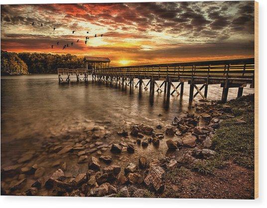 Pier At Smith Mountain Lake Wood Print