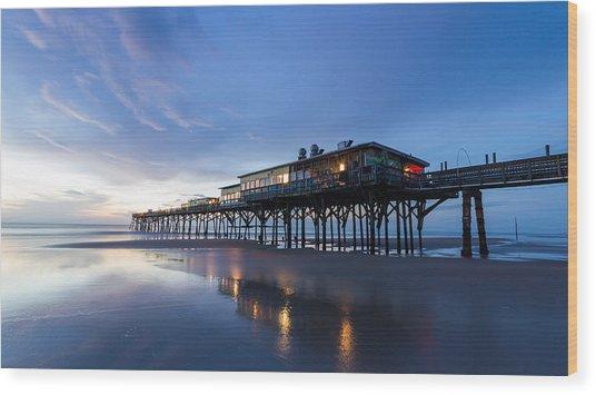 Pier At Twilight Wood Print