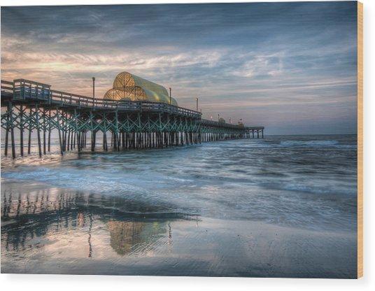 Pier Before Sunrise Wood Print