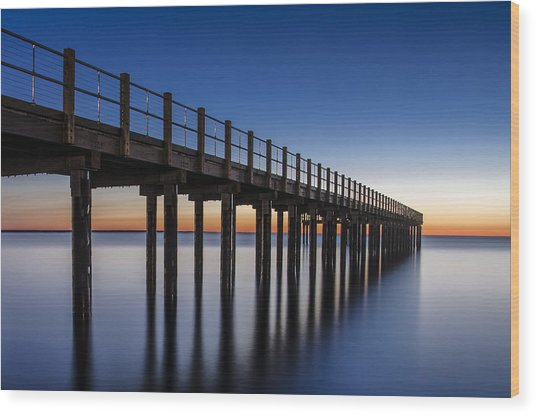 Pier In Blue Wood Print