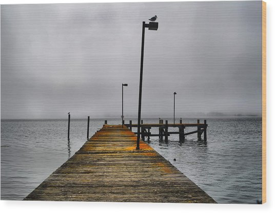 Pier Into The Fog Wood Print