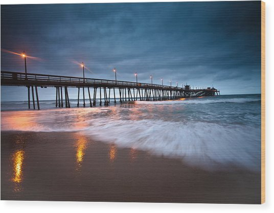 Pier Into The Night Wood Print