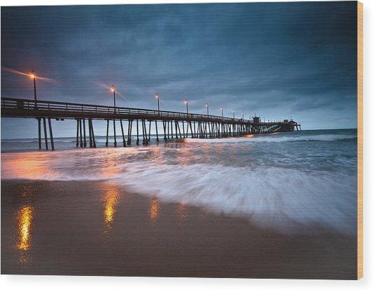 Pier Into The Night Wood Print