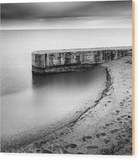 Pier On The Beach Wood Print by George Digalakis