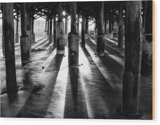 Pier Shadows Wood Print