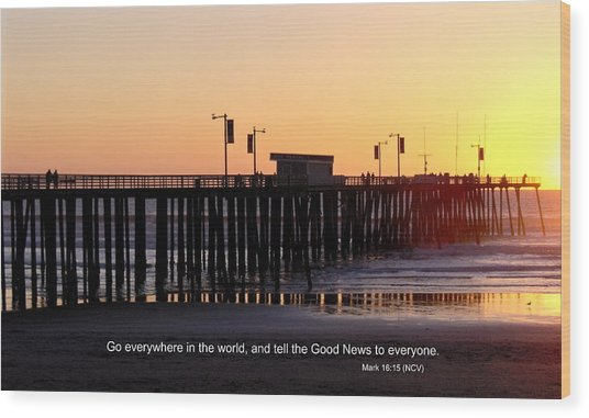 Pier Sunset W/scripture Wood Print