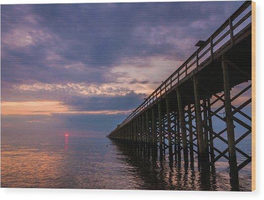 Pier To The Horizon Wood Print