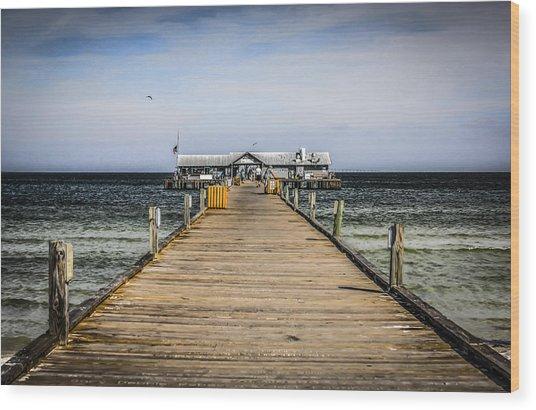 Pier Walkway Wood Print