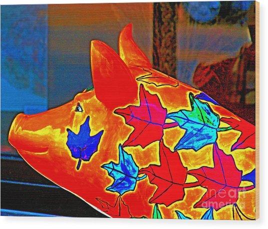 Pig Art Statuary Head Leaves Wood Print by Margaret Newcomb