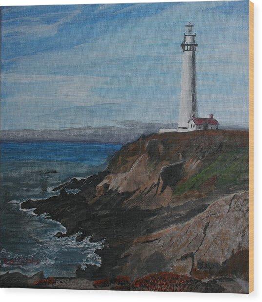 Pigeon Lighthouse Daytime Titrad Wood Print
