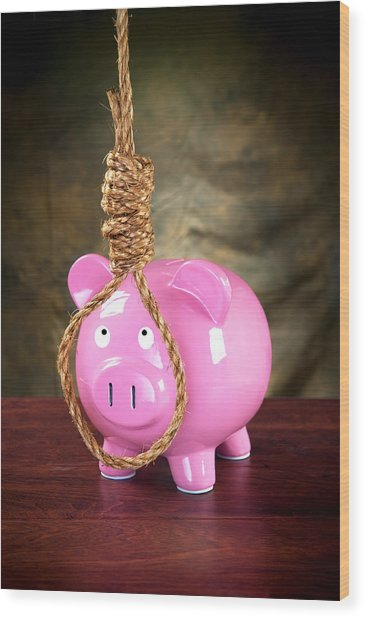 Piggybank And Noose Wood Print