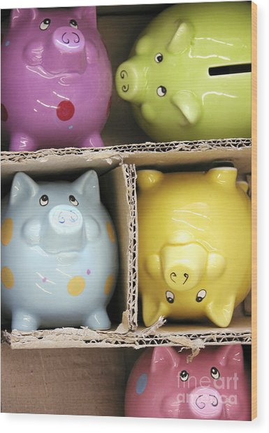 Pigs In A Box Wood Print