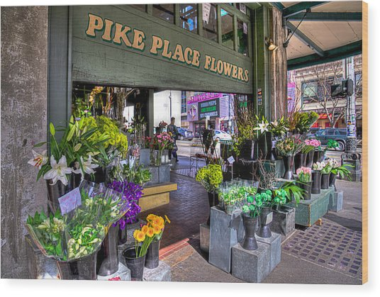 Pike Place Flowers Wood Print