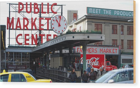 Pike Place Market Center Wood Print