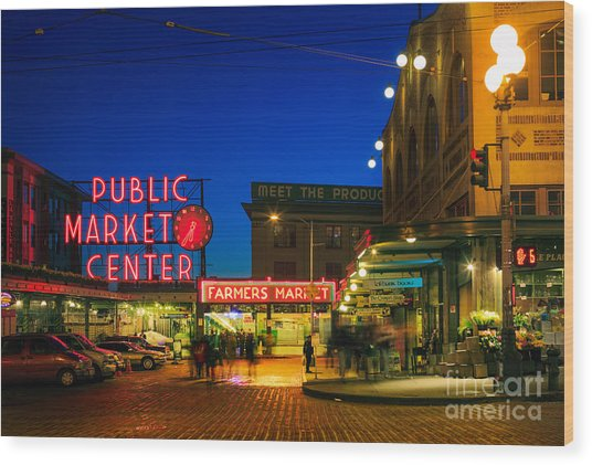 Pike Place Market Wood Print