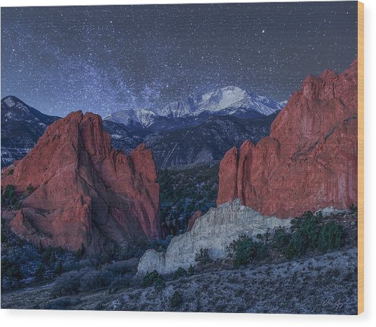 Pikes Peak At Night Wood Print