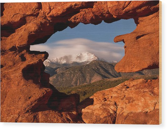 Pikes Peak Framed Wood Print