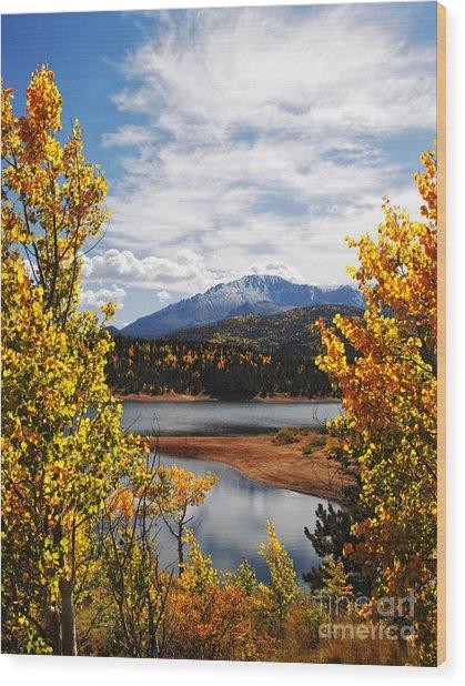Pikes Peak In Autumn Wood Print