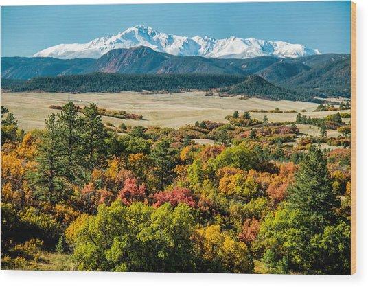 Pikes Peak Over Scrub Oak Wood Print