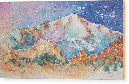 Pikes Peak Over The Garden Of The Gods Wood Print