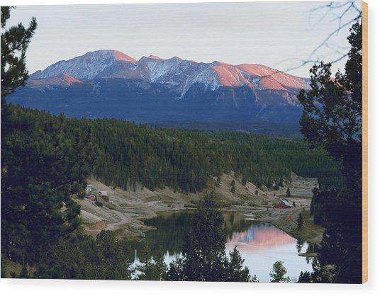 Pikes Peak Sunset Wood Print