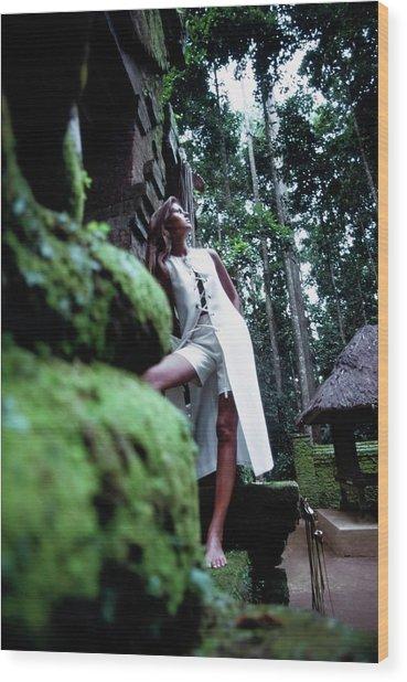Pilar Crespi Wearing A White Vest Wood Print