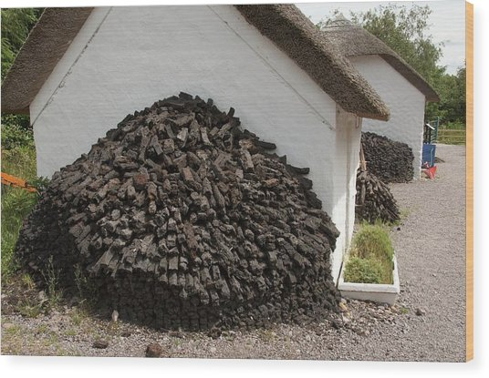 Pile Of Peat Wood Print