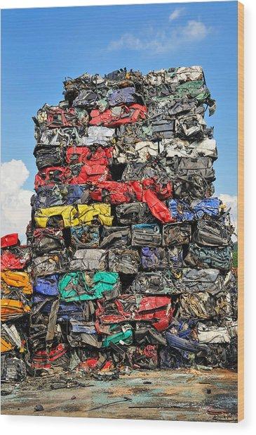 Pile Of Scrap Cars On A Wrecking Yard Wood Print