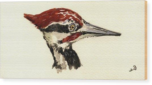 Pileated Woodpecker Head Study Wood Print