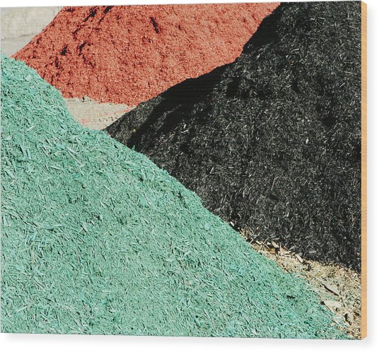Piles Of Multi-colored Bark Wood Chips Wood Print
