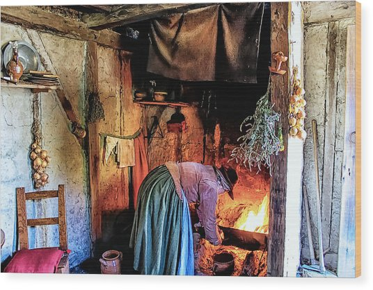 Pilgrim Ladies Kitchen Amenities Wood Print by Constantine Gregory